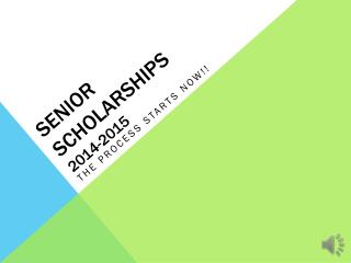Senior Scholarships 2014-2015