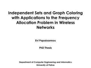 Evi Papaioannou PhD Thesis
