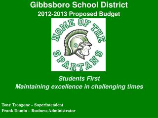 Gibbsboro School District 2012-2013 Proposed Budget Students First