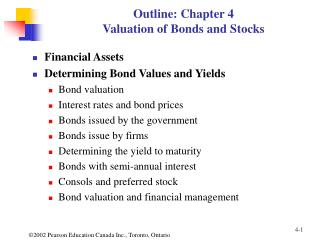 Outline: Chapter 4 Valuation of Bonds and Stocks
