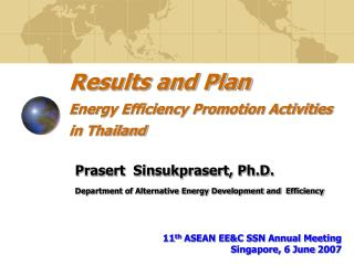 Results and Plan Energy Efficiency Promotion Activities in Thailand