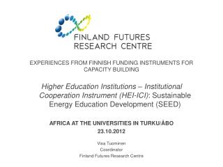 Experiences from Finnish funding instruments for capacity building