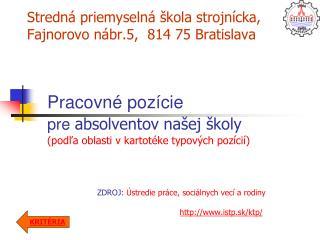Stredná priemyselná škola strojnícka, Fajnorovo nábr.5,  814 75 Bratislava