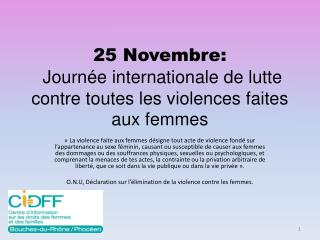 25 Novembre:  Journée internationale de lutte contre toutes les violences faites aux femmes