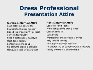Dress Professional Presentation Attire