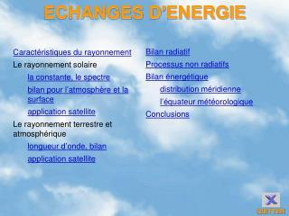 ECHANGES D'ENERGIE