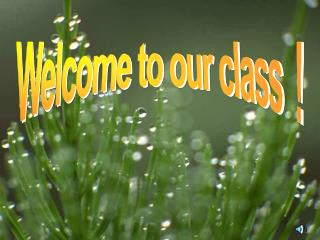 Welcome to our class  !