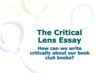 books for critical lens essay Critical lens essays: over 180,000 critical lens essays, critical lens term papers, critical lens research paper, book reports 184 990 essays, term and research.