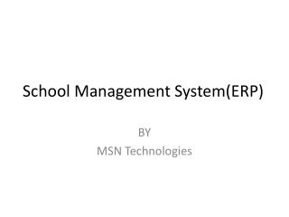 School Management System(ERP)