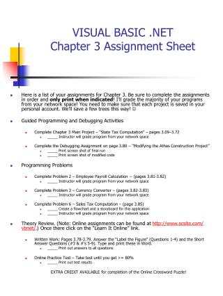 VISUAL BASIC .NET Chapter 3 Assignment Sheet
