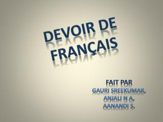 DEVOIR DE FRAN ҫ AIS