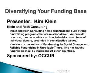 Diversifying Your Funding Base