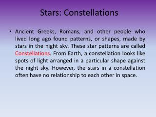 Stars: Constellations