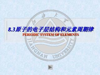 8.3 原子的电子层结构和元素周期律 PERIODIC SYSTEM OF ELEMENTS