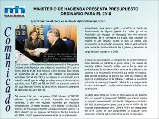 MINISTERIO DE HACIENDA PRESENTA PRESUPUESTO ORDINARIO PARA EL 2010