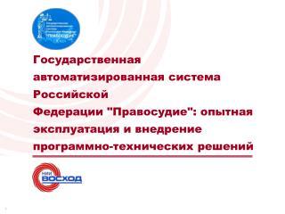 ГОСУДАРСТВЕННАЯ АВТОМАТИЗИРОВАННАЯ СИСТЕМА РОССИЙСКОЙ ФЕДЕРАЦИИ