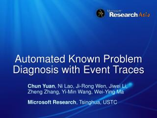 Automated Known Problem Diagnosis with Event Traces