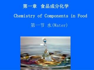 第一章  食品成分化学 Chemistry of Components in Food 第一节 水 (Water)