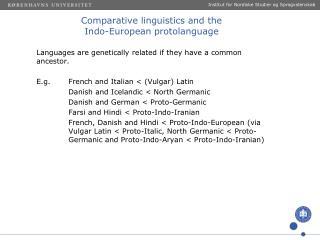 Comparative linguistics  and the  Indo-European  protolanguage