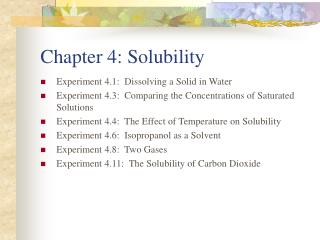 Chapter 4: Solubility
