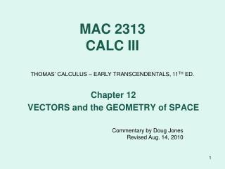 MAC 2313 CALC III