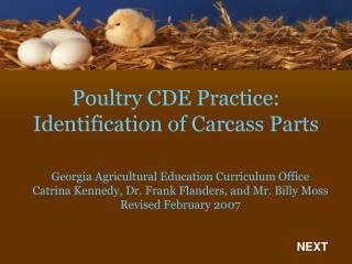 Poultry CDE Practice: Identification of Carcass Parts