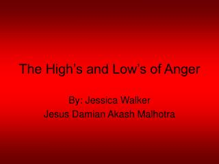 The High's and Low's of Anger