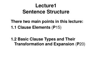 Lecture1 Sentence Structure