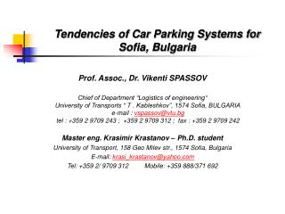Tendencies of Car Parking Systems for Sofia, Bulgaria