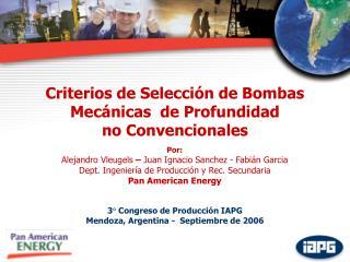 Criterios de Selección de Bombas Mecánicas  de Profundidad  no Convencionales