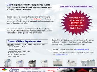 Nashuatec colour  printer free with purchase of  every Nashuatec Digital Copier