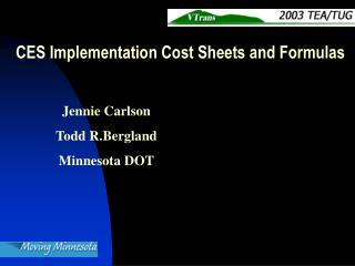 CES Implementation Cost Sheets and Formulas