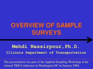 OVERVIEW OF SAMPLE SURVEYS