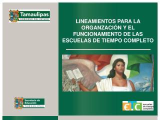 LINEAMIENTOS PARA LA ORGANZACIÓN Y EL FUNCIONAMIENTO DE LAS ESCUELAS DE TIEMPO COMPLETO