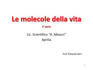 Le molecole della vita 2 °  parte