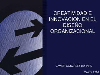CREATIVIDAD E INNOVACION EN EL DISEÑO ORGANIZACIONAL