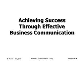 Achieving Success Through Effective Business Communication