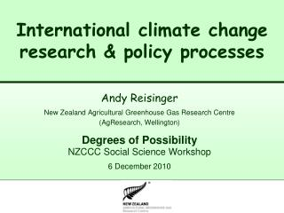 International climate change research & policy processes