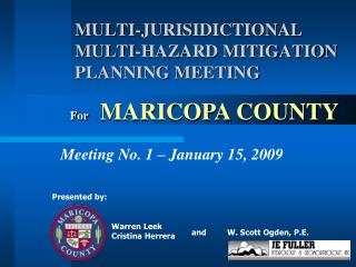 MULTI-JURISIDICTIONAL MULTI-HAZARD MITIGATION PLANNING MEETING