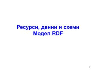 Ресурси, данни и схеми Модел  RDF