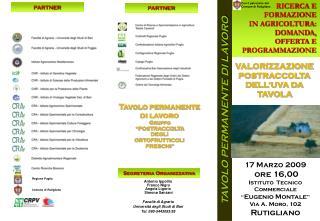 RICERCA E FORMAZIONE IN AGRICOLTURA: DOMANDA, OFFERTA E PROGRAMMAZIONE