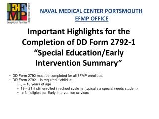 "Important Highlights for the Completion of DD Form 2792-1 ""Special Education/Early"