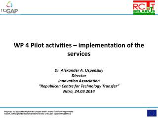 WP 4 Pilot activities – implementation of the  services