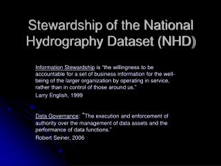 Stewardship of the National Hydrography Dataset NHD