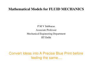 Mathematical Models for FLUID MECHANICS
