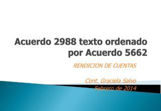 Acuerdo 2988 texto ordenado por Acuerdo 5662