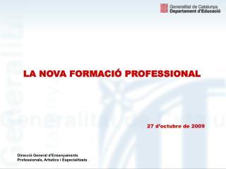 LA NOVA FORMACIÓ PROFESSIONAL 27 d'octubre de 2009