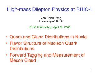 High-mass Dilepton Physics at RHIC-II