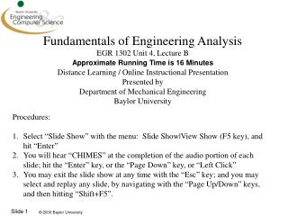 Fundamentals of Engineering Analysis EGR 1302 Unit 4, Lecture B