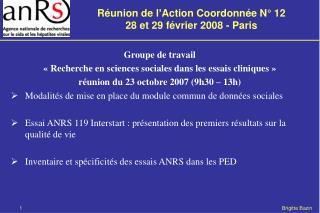 Groupe de travail  «Recherche en sciences sociales dans les essais cliniques»